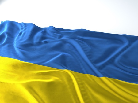 3d render iustration of a Waving ukraine Flag on white background
