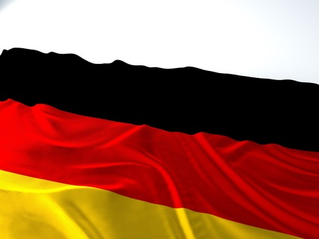 3d render iustration of a Waving german Flag on white background