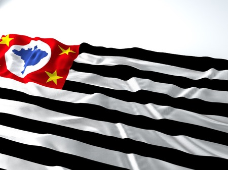 3d render iustration of a sao paulo state Waving Flag on white background