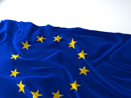 3d render iustration of a Waving europe union Flag on white background