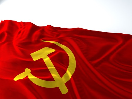 3d render iustration of a Waving communist Flag on white background Фото со стока
