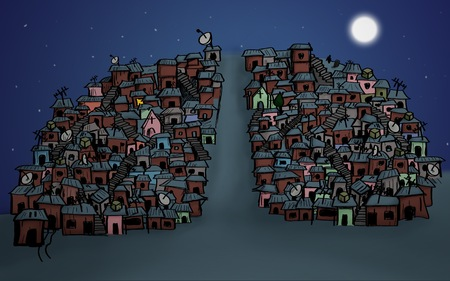 lights in a Brazilian favela, shanty town night scene with moon
