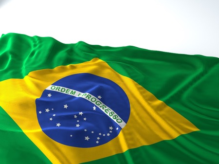 3d render iustration of a Waving brazil Flag on white background Фото со стока