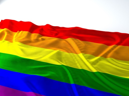 3d render iustration of a Waving gay Flag on white background Фото со стока