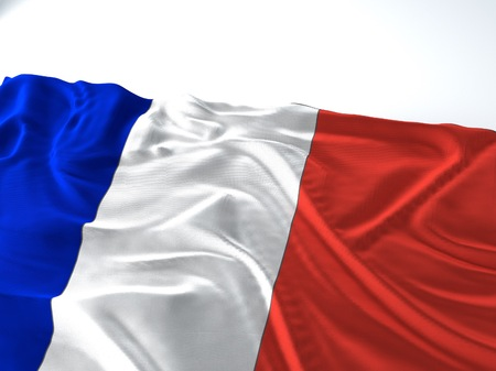 3d render iustration of a Waving france Flag on white background