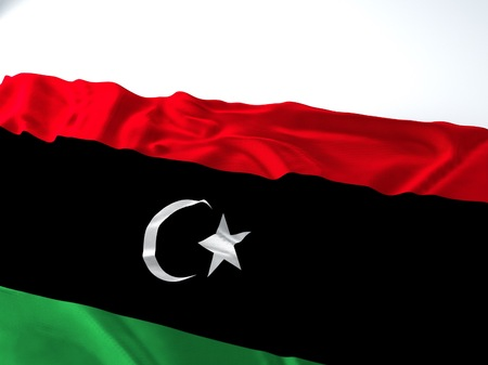 3d render iustration of a Waving libyan Flag on white background