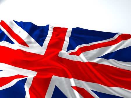 3d render iustration of a Waving england Flag on white background