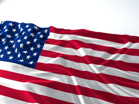 3d render iustration of a Waving american Flag on white background Фото со стока