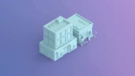 a 3d illustration render of a  coffee shop and a commercial building isometric