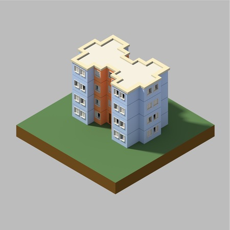 a 3d illustration render of a residential building isometric Фото со стока