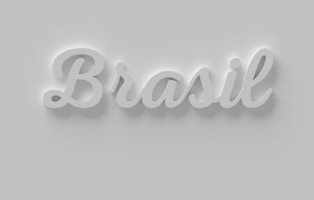 Clean 3d word Brasil in a white wall, Rendering illustration Фото со стока
