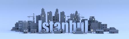 Istanboel lettering, stad in 3d renderen