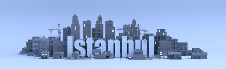 istanbul lettering, city in 3d render