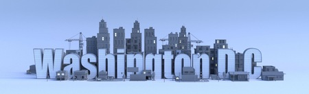 washington dc lettering, city in 3d render
