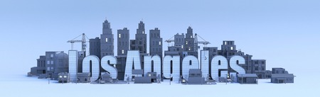los angeles lettering, city in 3d render