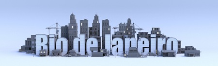 rio de janeiro text, word name of the city in middle of buildings, 3d render