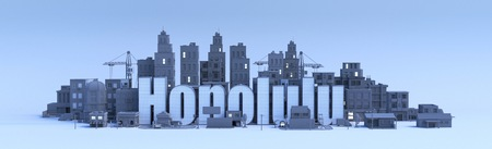 Honolulu lettering, city in 3d render