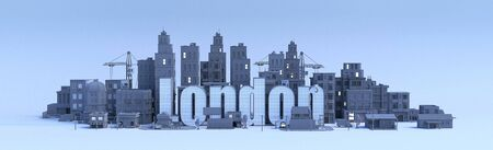 xxxx lettering, city in 3d render