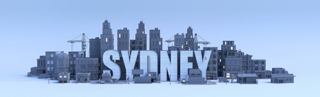 Sydney lettering, city in 3d render