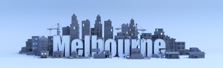 melbourne lettering, city in 3d render Фото со стока