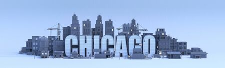 chicago lettering, city in 3d render