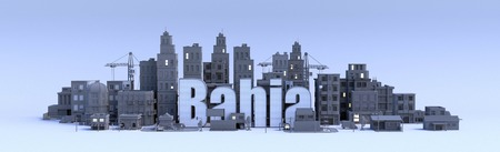 bahia text, word name of the city in middle of buildings, 3d render