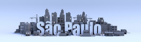 sao paulo text, word name of the city in middle of buildings, 3d render