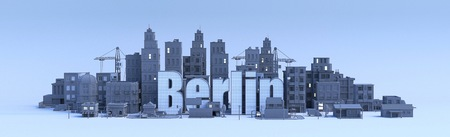 Berlin lettering, city in 3d render