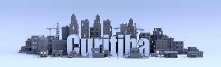 curitiba text, word name of the city in middle of buildings, 3d render Фото со стока