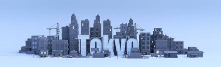 tokyo lettering, city in 3d render Фото со стока