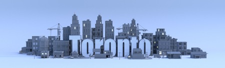 toronto lettering, city in 3d render