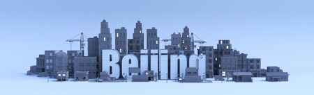 beijing lettering, city in 3d render