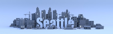 seatle lettering, city in 3d render Фото со стока