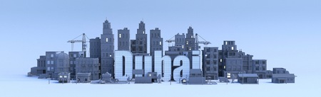 Dubai lettering, city in 3d render