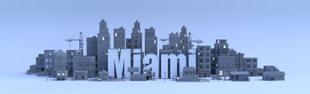 miami lettering, city in 3d render Фото со стока