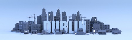 dublin lettering, city in 3d render Фото со стока