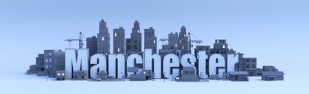 manchester lettering, city in 3d render Фото со стока