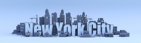 new york city lettering, city in 3d render