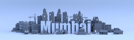 mumbai lettering, city in 3d render Фото со стока