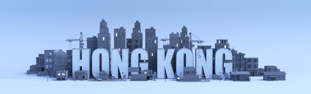 hong kong lettering, city in 3d render
