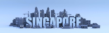 singapore lettering, city in 3d render