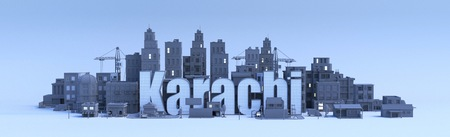 karachi lettering, city in 3d render