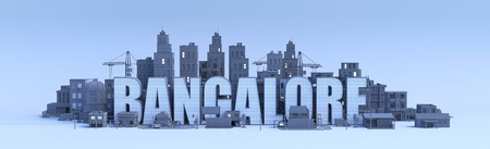 bangalore lettering, city in 3d render
