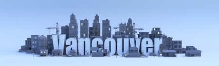 vancouver lettering, city in 3d render Фото со стока