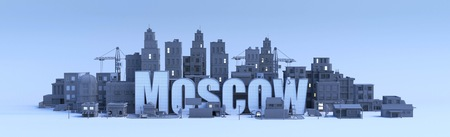 moscow lettering, city in 3d render