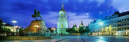 statics: Sophia Square is one of the most beautiful, historic and well-known in Ukraine Stock Photo