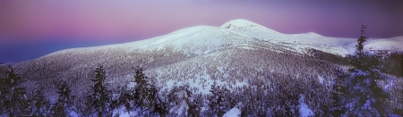 Gentle colors of sunset rays leave the snowy ridge photo