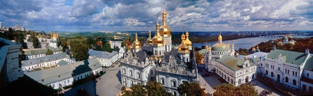 grandiose: Grandiose beautiful view of the whole complex of the Kiev-Pechersk Lavra, taken from a high altitude monastery bell tower