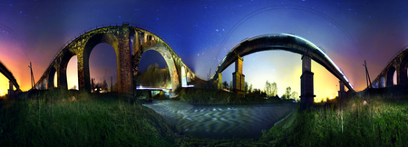 vorohta: Ancient Austrian bridge erected captured by the Italians in 1895 and a modern stand together on the river Prut, combined circular 360 degree panorama of the night under the sky Carpathian fabulous