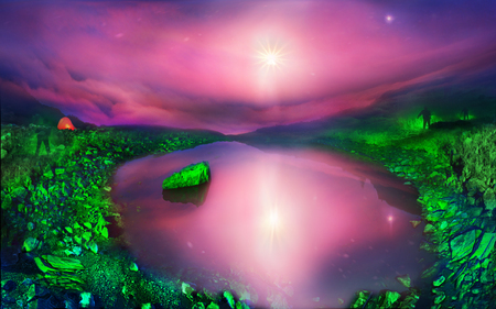 On the slopes Pop Ivan Maramorosh is a crystal clear lake. At dawn, we covered slopes around the green lantern light, achieving the unreal fairytale effect. Rising Moon turns Carpathian landscape in fantasy photo